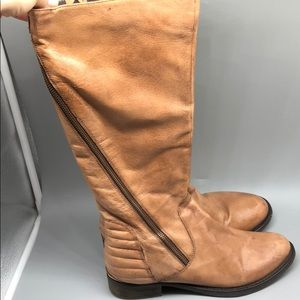 Ecco cognac leather abbyy knee high moto boots